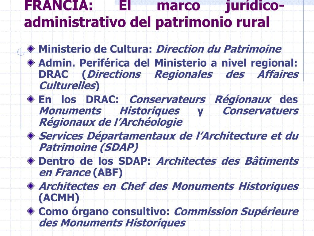 FRANCIA: El marco jurídico-administrativo del patrimonio rural