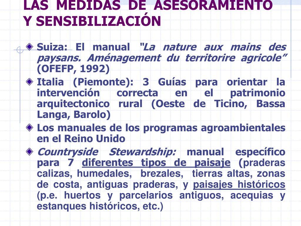 LAS MEDIDAS DE ASESORAMIENTO Y SENSIBILIZACIÓN