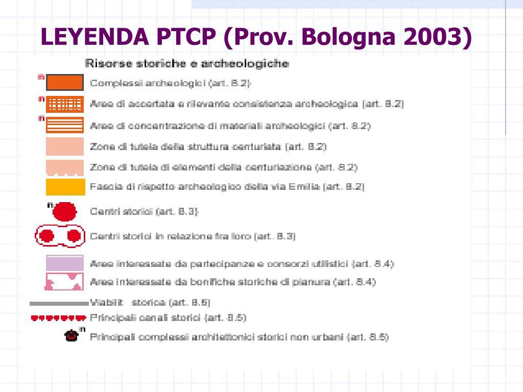LEYENDA PTCP (Prov. Bologna 2003)