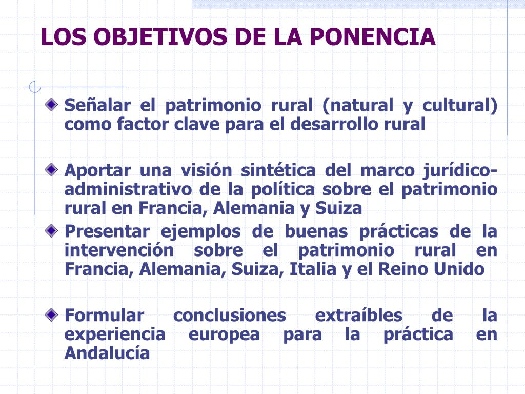 LOS OBJETIVOS DE LA PONENCIA