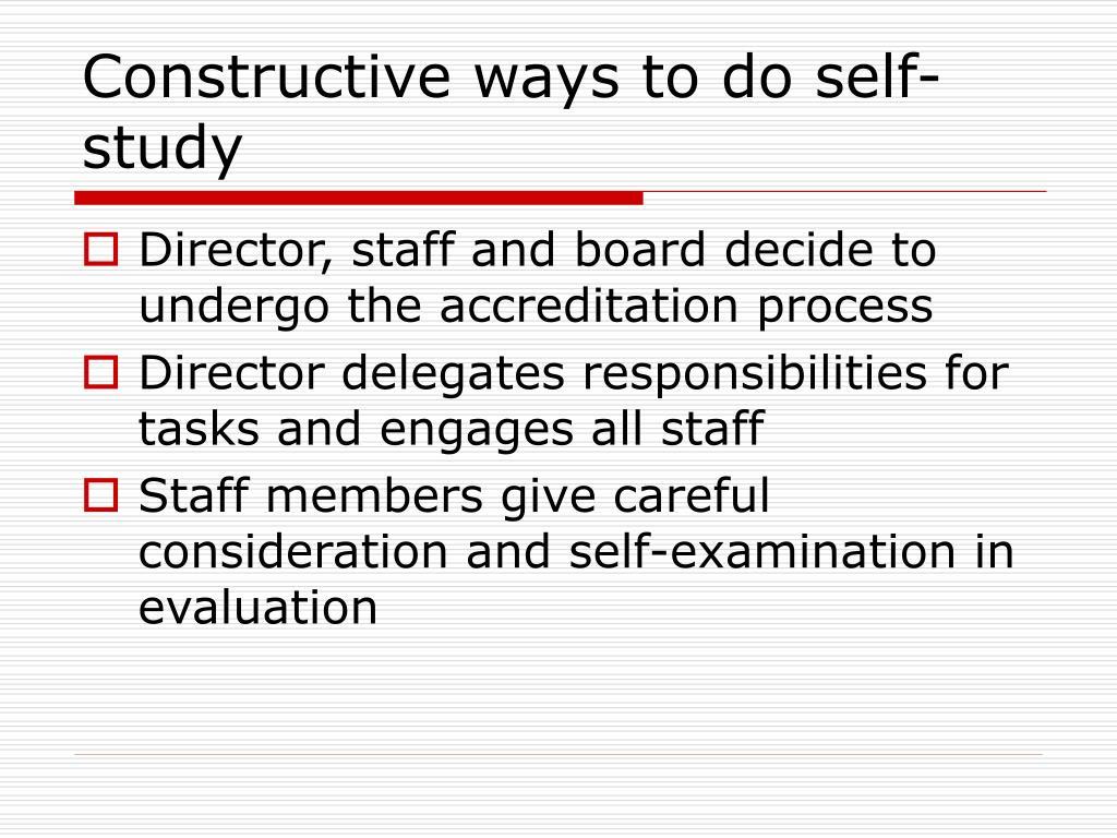 Constructive ways to do self-study