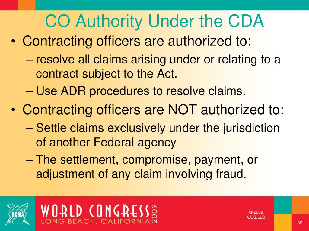 CO Authority Under the CDA