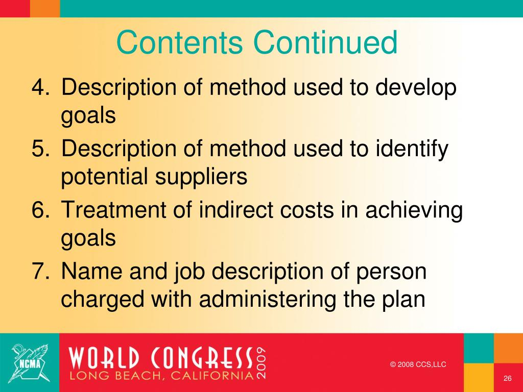 Contents Continued
