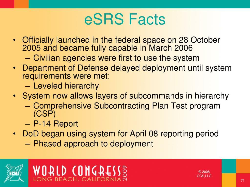 eSRS Facts