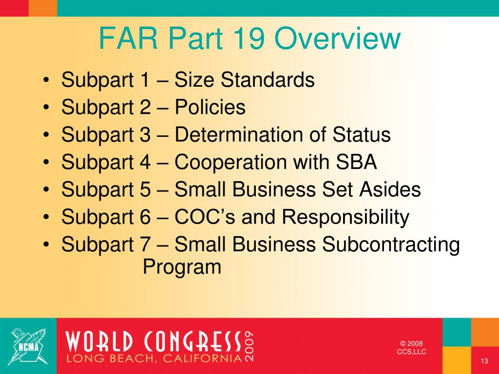 FAR Part 19 Overview