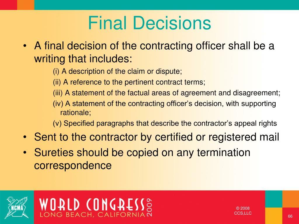 Final Decisions