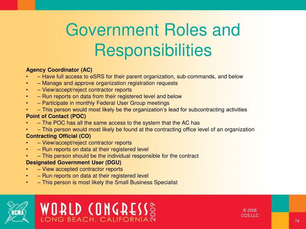 Government Roles and Responsibilities