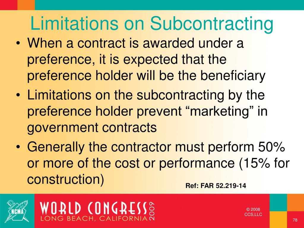 Limitations on Subcontracting