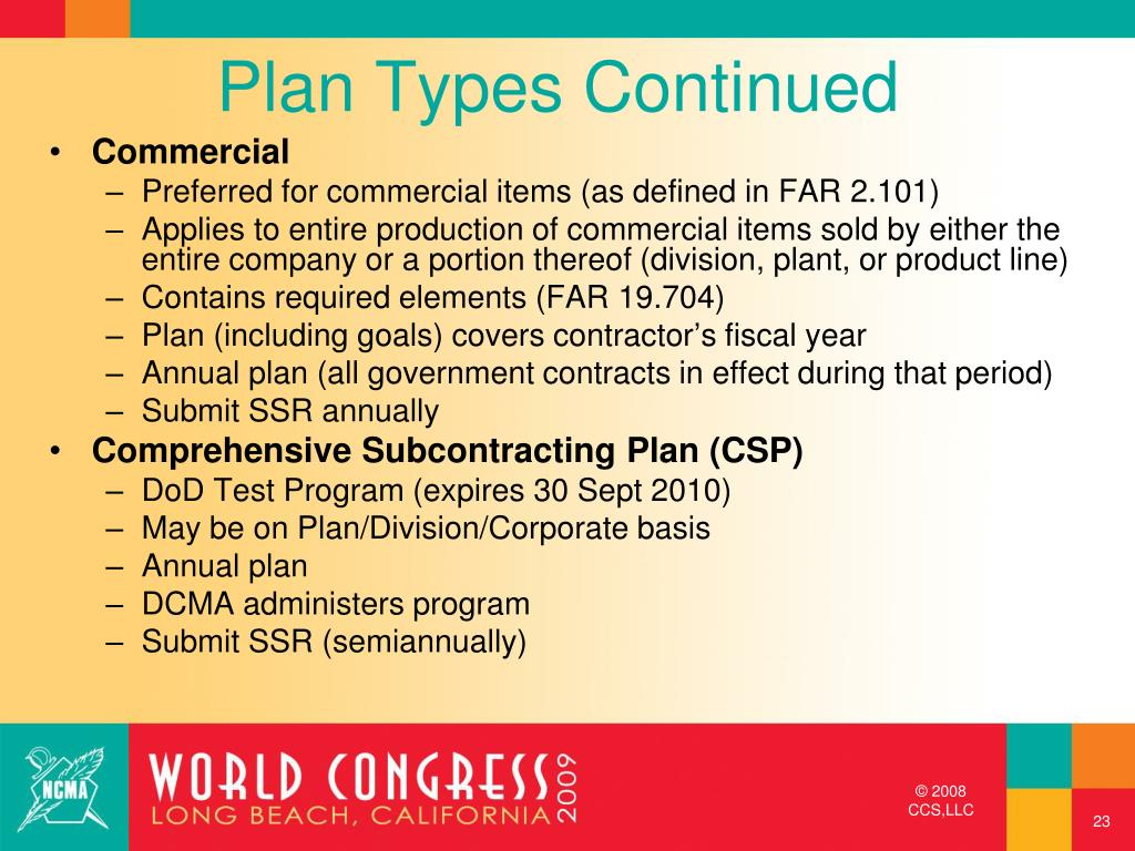 Plan Types Continued