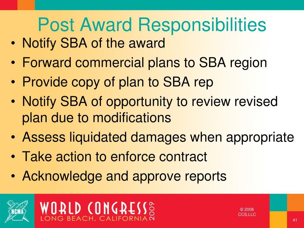 Post Award Responsibilities