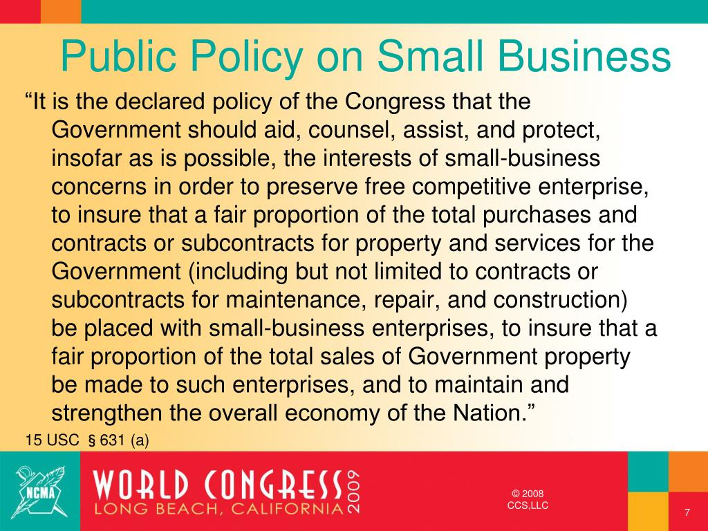 Public Policy on Small Business