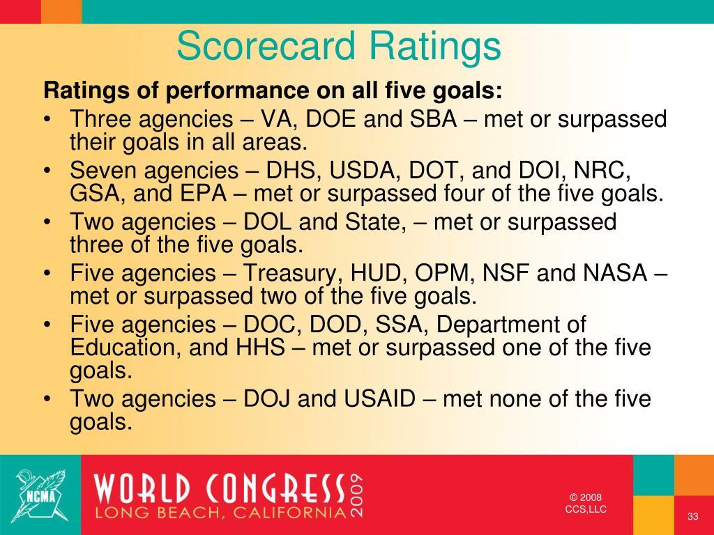 Scorecard Ratings