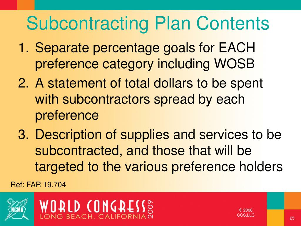 Subcontracting Plan Contents