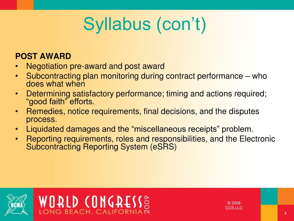 Syllabus (con't)