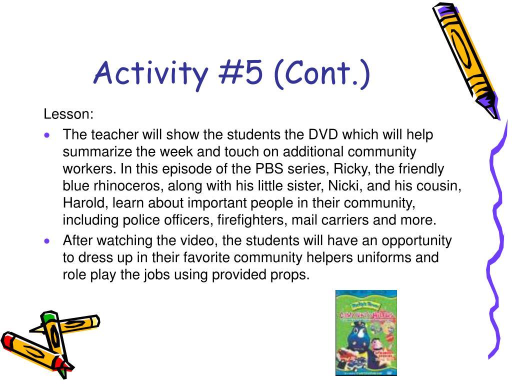 Activity #5 (Cont.)