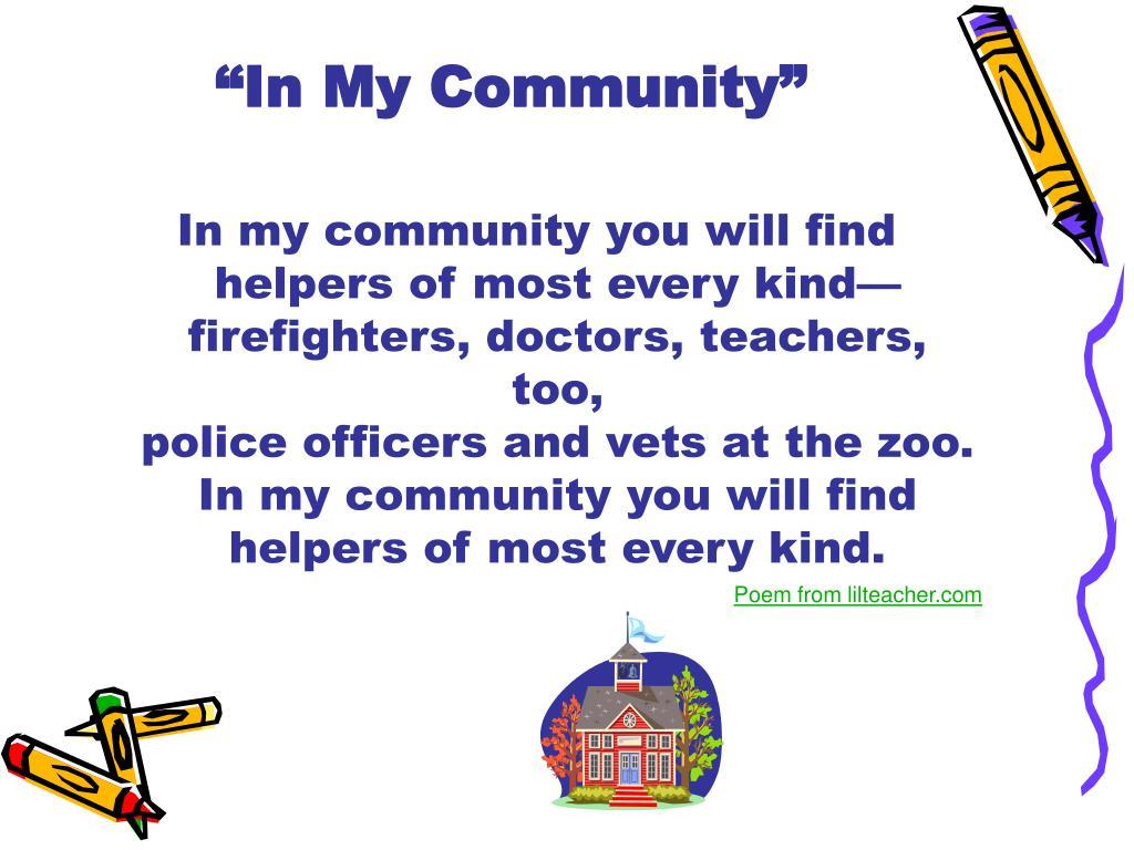 """In My Community"""