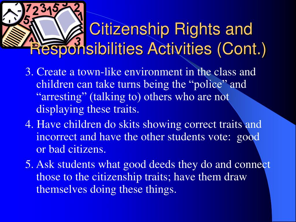 Citizenship Rights and Responsibilities Activities (Cont.)
