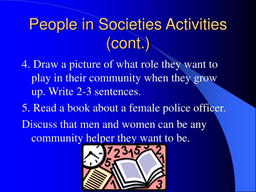 People in Societies Activities (cont.)