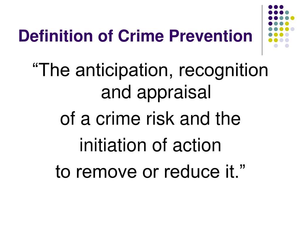 Definition of Crime Prevention