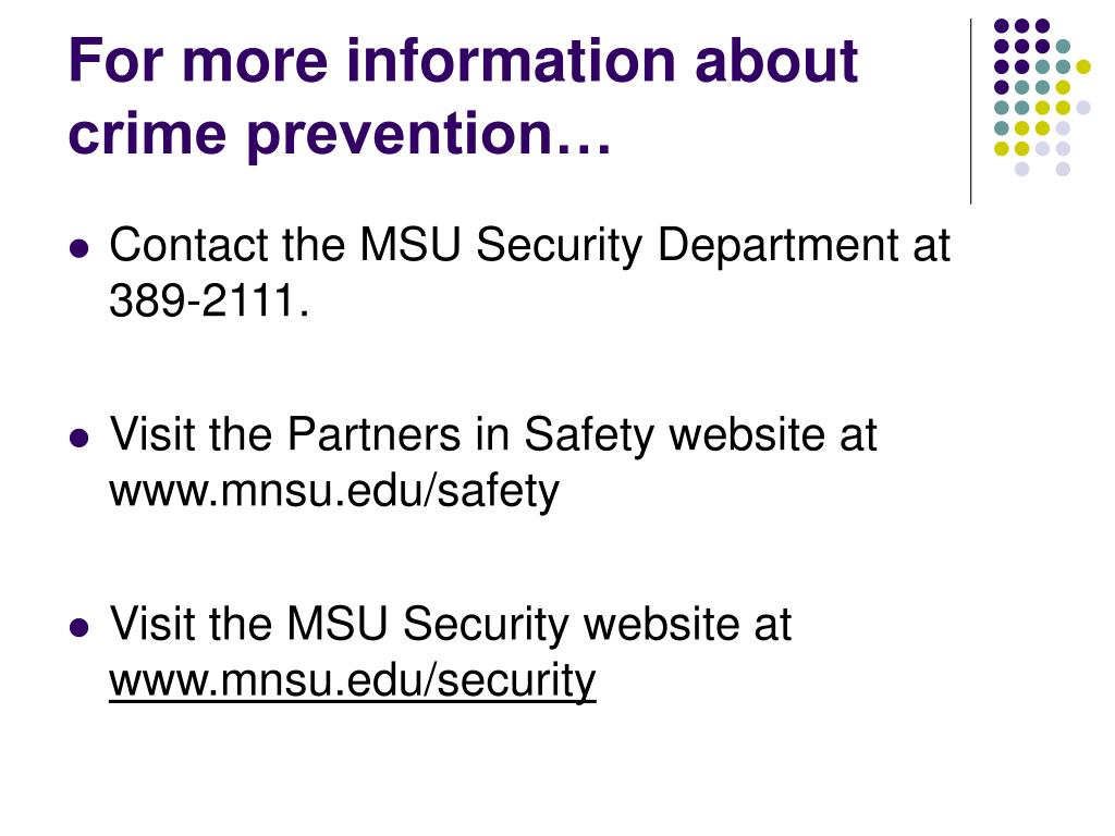 For more information about crime prevention…