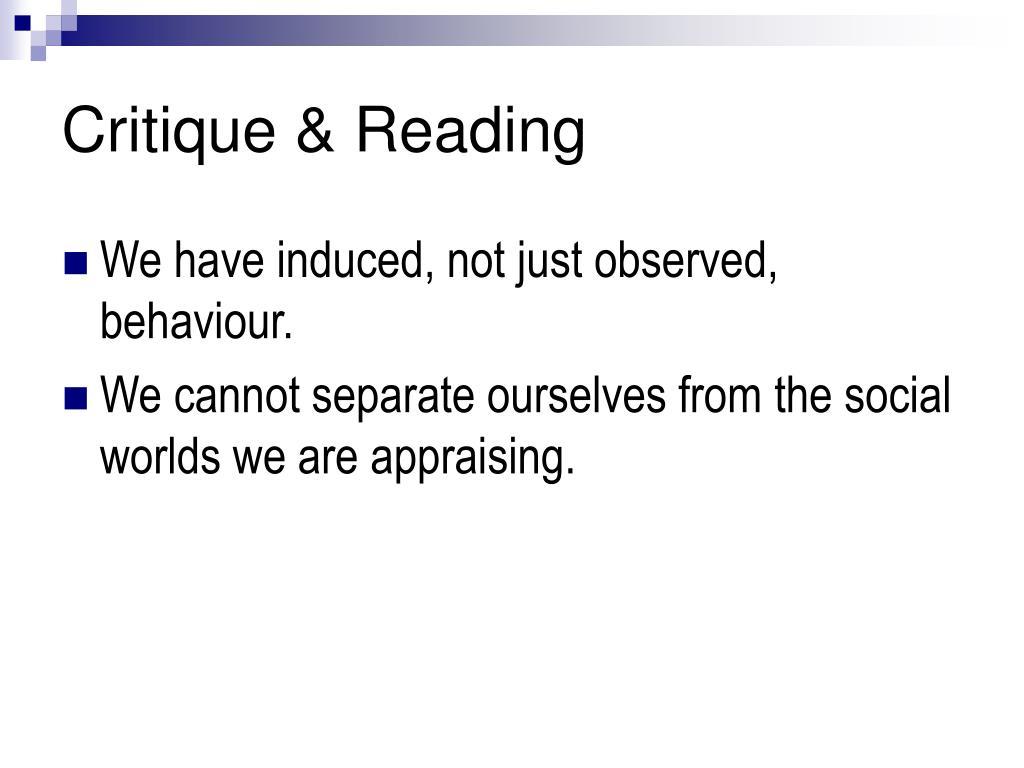 Critique & Reading