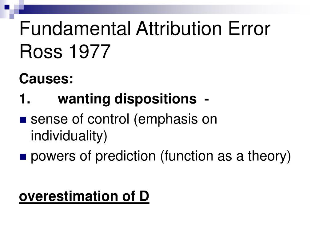 Fundamental Attribution Error Ross 1977