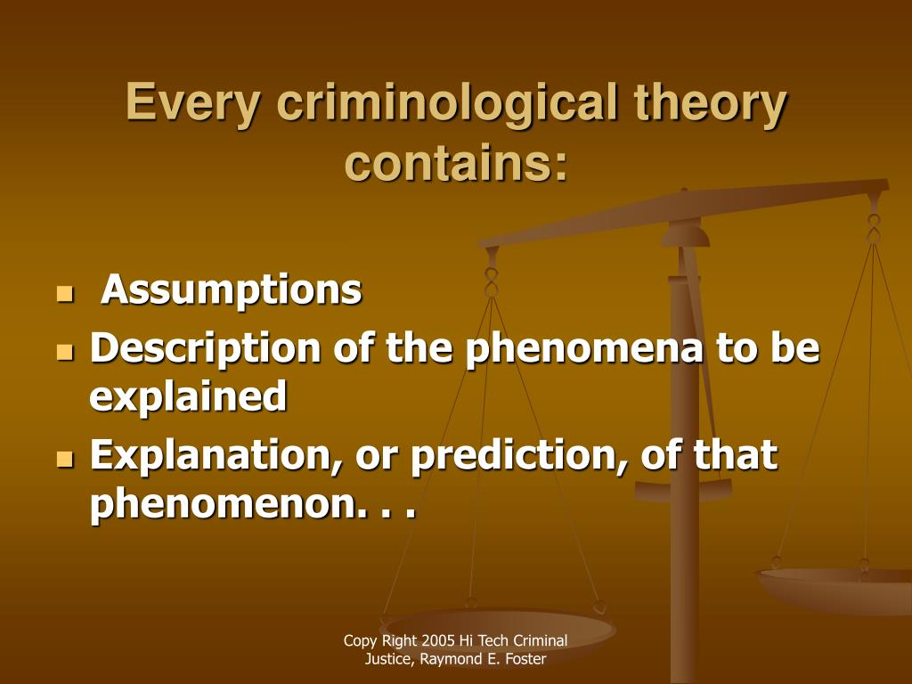 Every criminological theory contains: