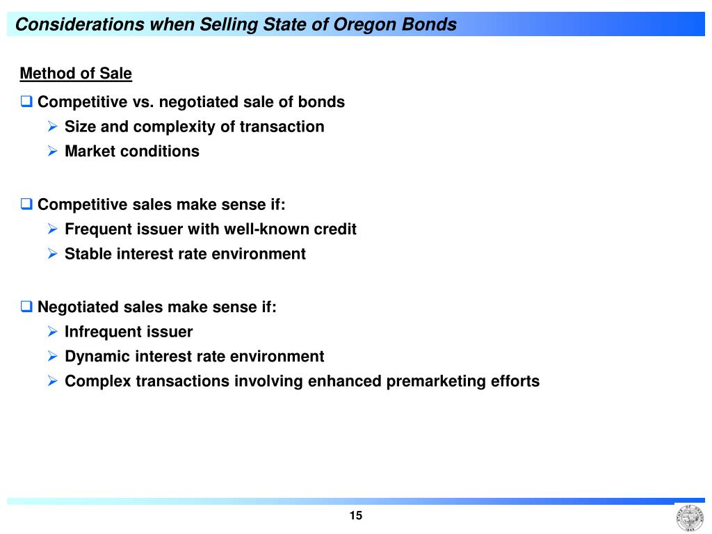 Considerations when Selling State of Oregon Bonds