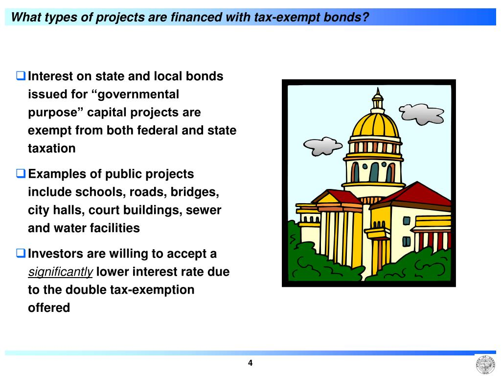 What types of projects are financed with tax-exempt bonds?