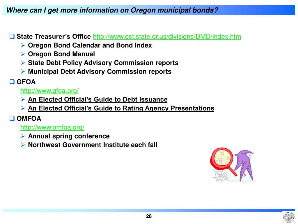 Where can I get more information on Oregon municipal bonds?