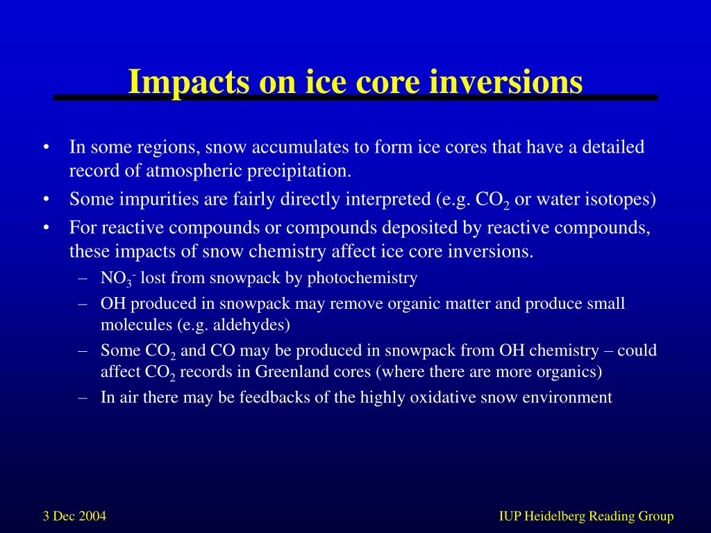 Impacts on ice core inversions