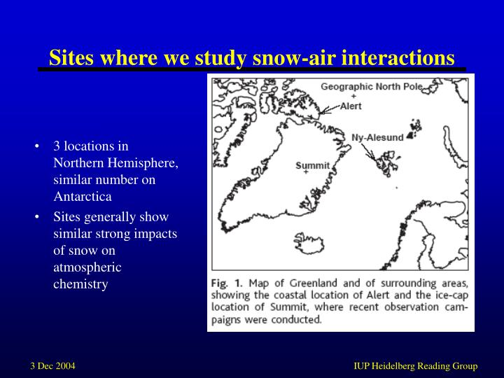 Sites where we study snow air interactions