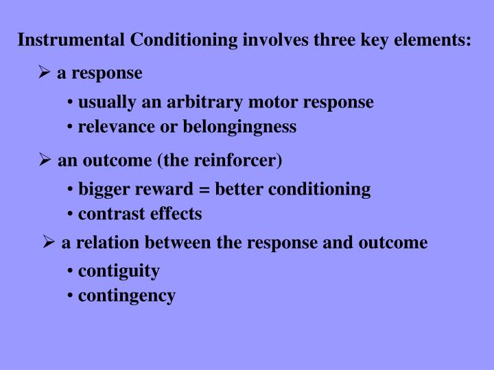instrumental conditioning Definition of instrumental conditioning - a learning process in which behaviour is modified by the reinforcing or inhibiting effect of its consequence.