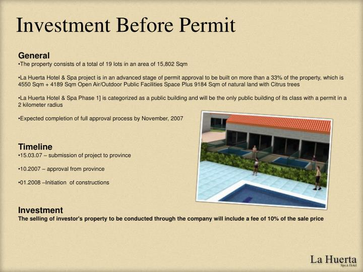 Investment Before Permit