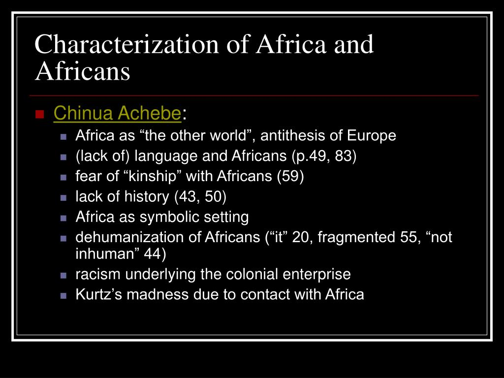 Characterization of Africa and Africans