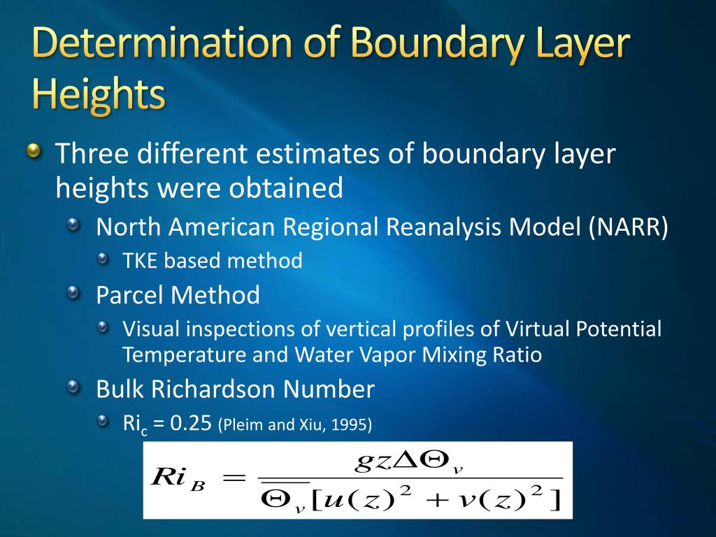 Determination of Boundary Layer Heights