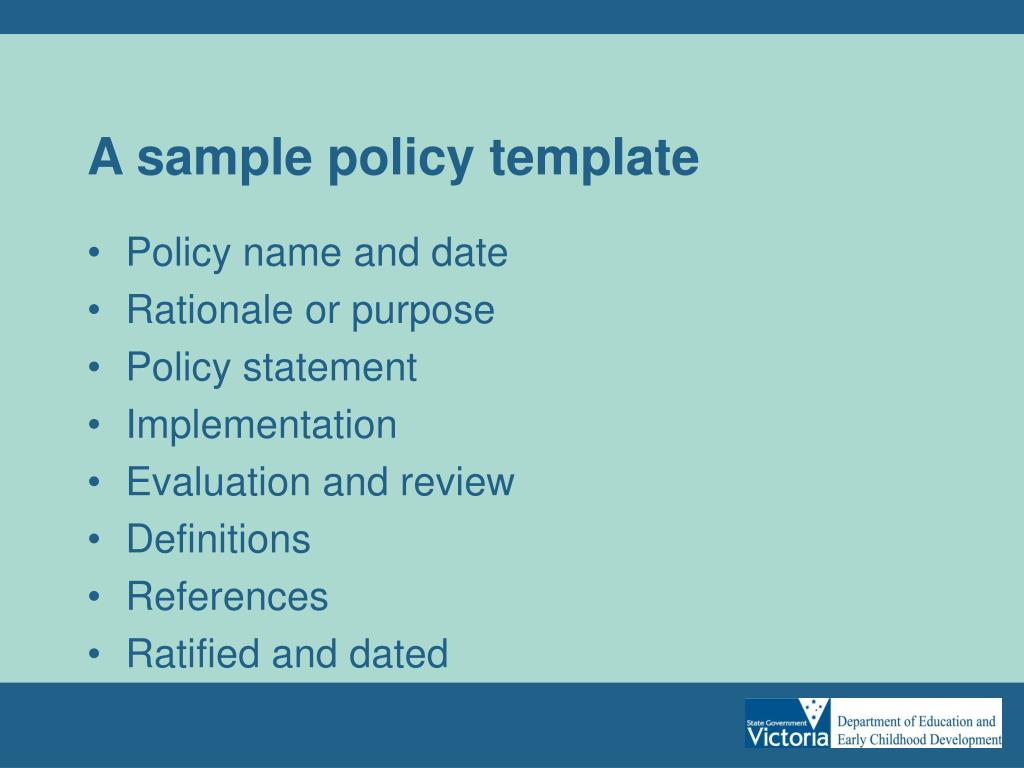 A sample policy template