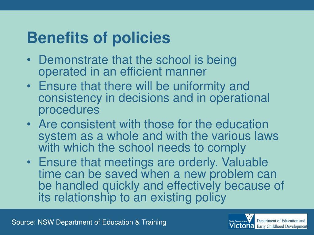 Benefits of policies
