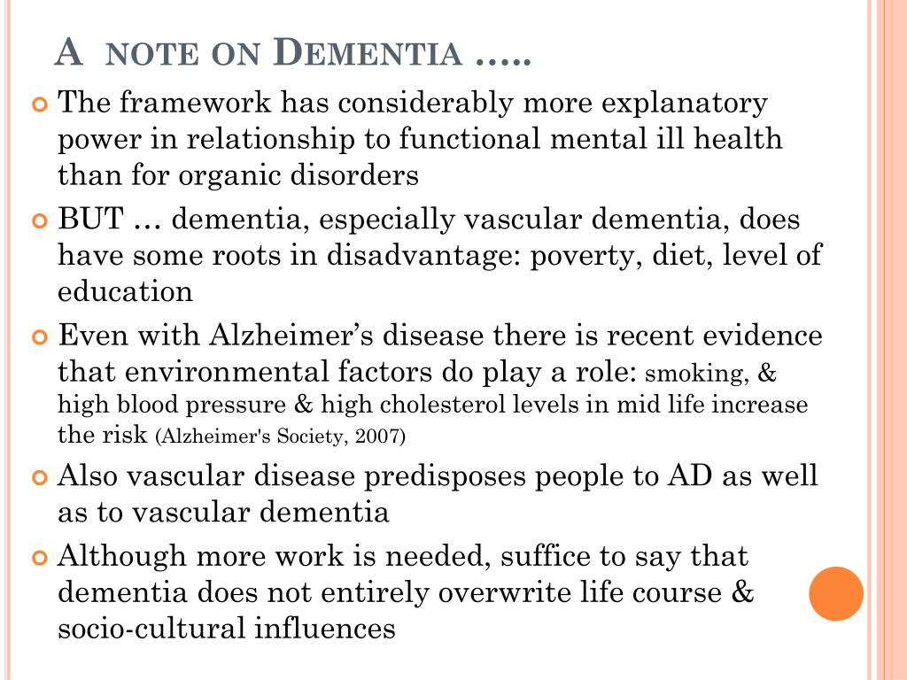 A  note on Dementia …..