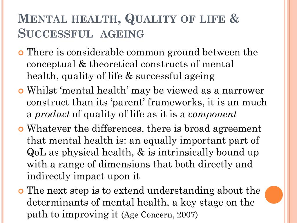 Mental health, Quality of life & Successful  ageing