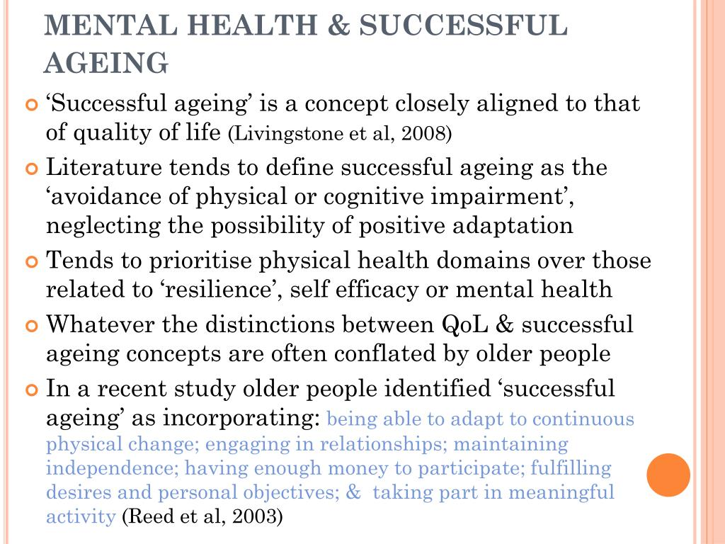 MENTAL HEALTH & SUCCESSFUL AGEING