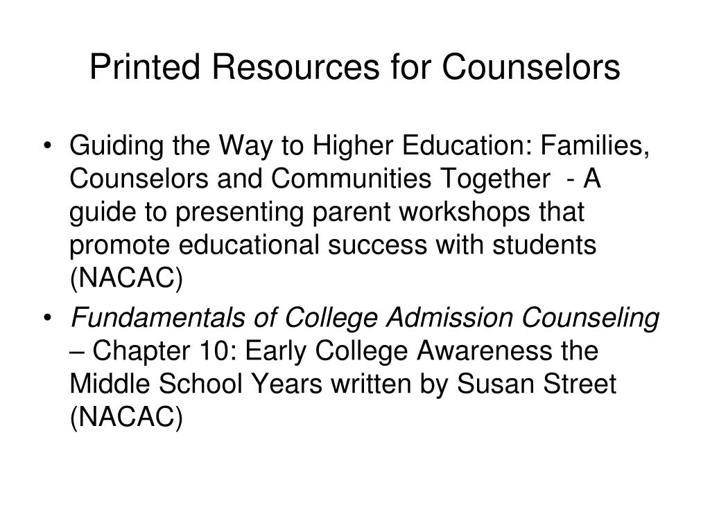 Printed Resources for Counselors