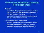 the process evaluation learning from experiences