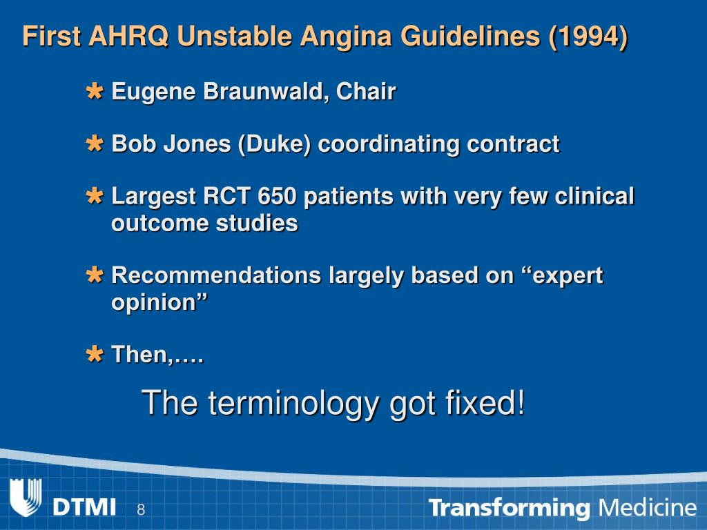 First AHRQ Unstable Angina Guidelines (1994)