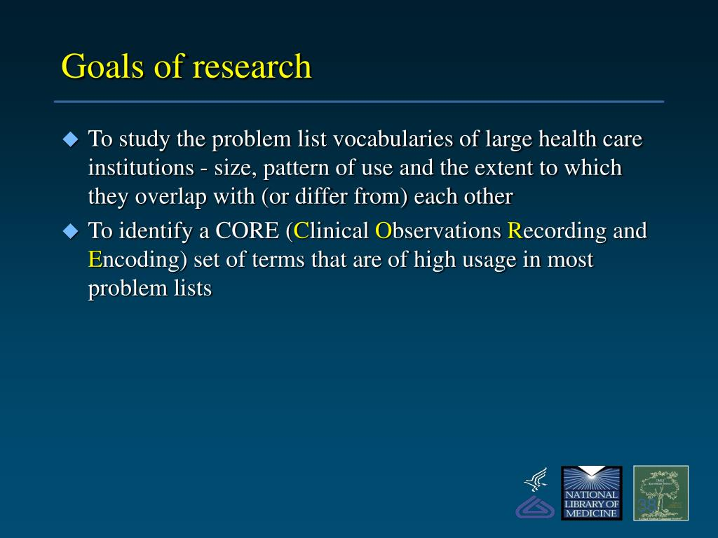 Goals of research