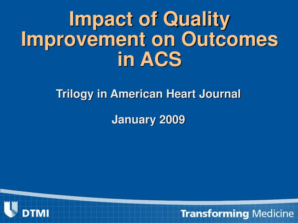 Impact of Quality Improvement on Outcomes in ACS