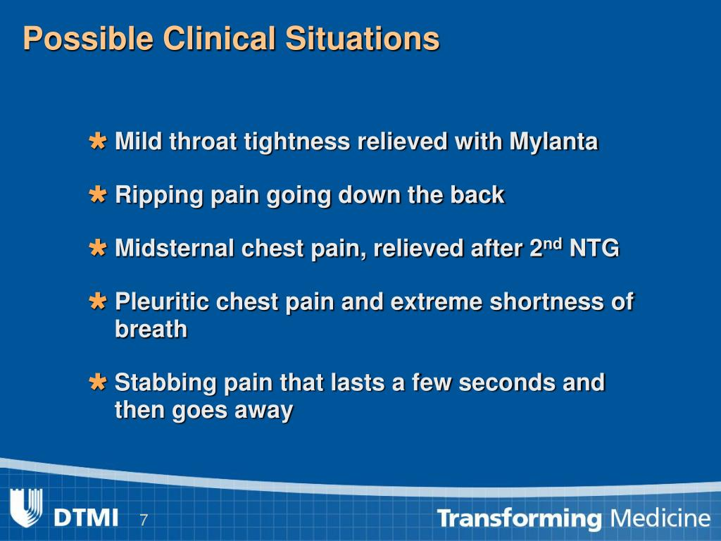 Possible Clinical Situations