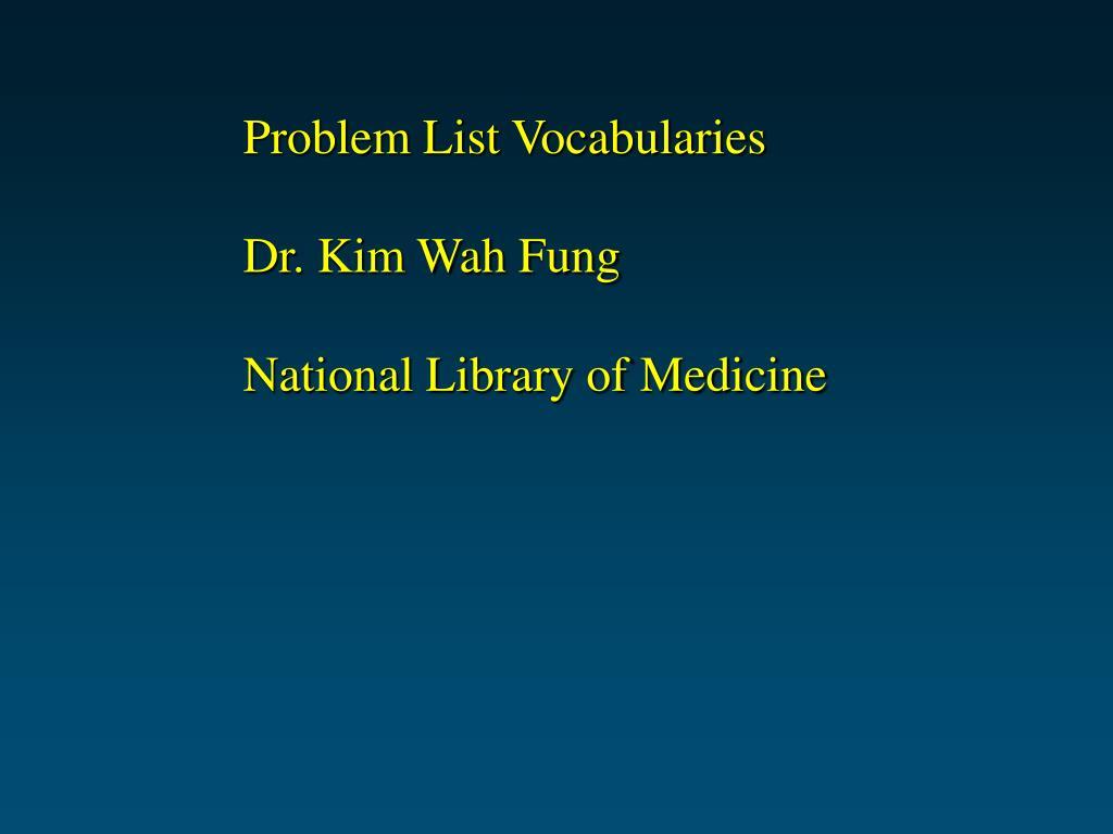 Problem List Vocabularies