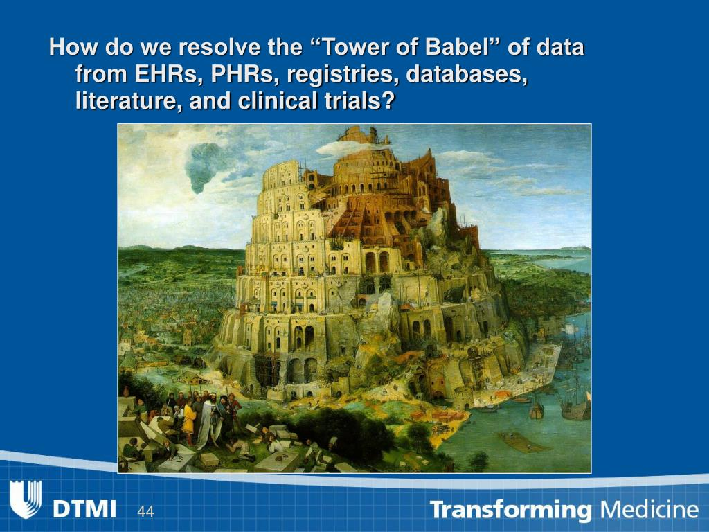 """How do we resolve the """"Tower of Babel"""" of data from EHRs, PHRs, registries, databases, literature, and clinical trials?"""