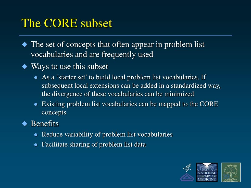 The CORE subset